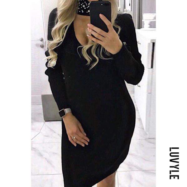 Black V Neck Plain Long Sleeve Bodycon Dresses Black V Neck Plain Long Sleeve Bodycon Dresses
