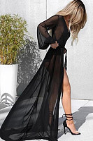 Deep V Neck  Asymmetric Hem  Plain Cover Ups