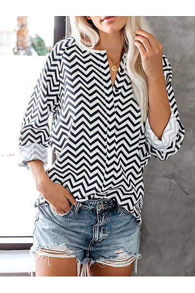 Casual V Neck Striped Long Sleeve Shirt