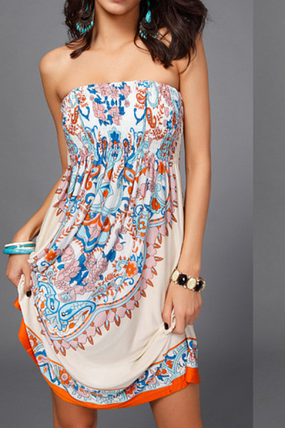 Strapless  Backless  Print  Sleeveless Casual Dresses