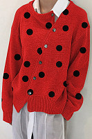 Polka Dot Autumn And Winter Korean Slant Button Cardigan Jacket Sweater