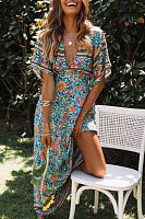 Deep V Neck  Bohemian Floral Printed  Short Sleeve Maxi Dresses