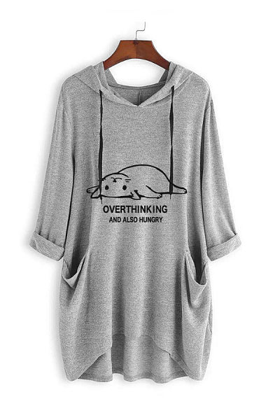 Hat Collar Long Sleeve Cat Casual T-Shirt