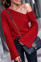 Open Shoulder  Plain  Bell Sleeve Sweaters