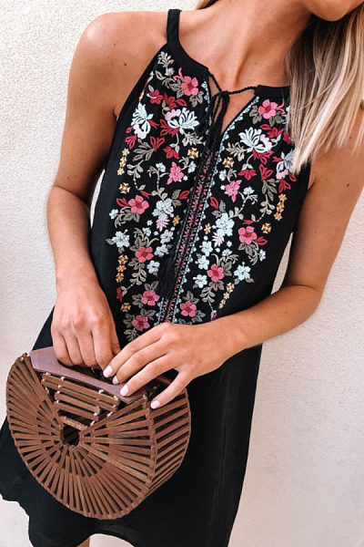 Crew Neck  Floral Printed  Sleeveless Casual Dresses