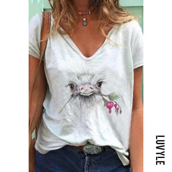 Bird Printed V Neck T-shirt