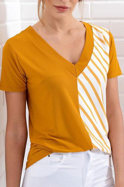 V Neck  Patchwork T-Shirts