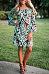 Off Shoulder  Belt  Printed  Bell Sleeve  Long Sleeve Casual Dresses