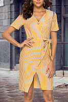 V Neck  Single Breasted  Striped  Short Sleeve Bodycon Dresses