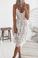 Spaghetti Strap  Decorative Lace  Plain  Sleeveless Skater Dresses