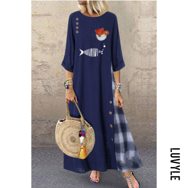 Round Neck Long Sleeve Printed Plaid Maxi Dress - from $28.00
