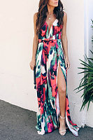 Deep V Neck  High Slit Print Maxi Dresses