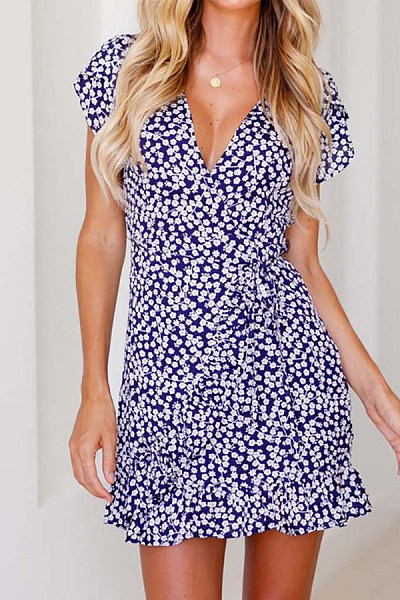 V Neck  Printed  Short Sleeve  Basic Bodycon Dresses