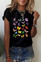 Butterfly Round Neck Casual T-shirt