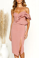 One Shoulder  Flounce  Plain  Sleeveless Maxi Dresses