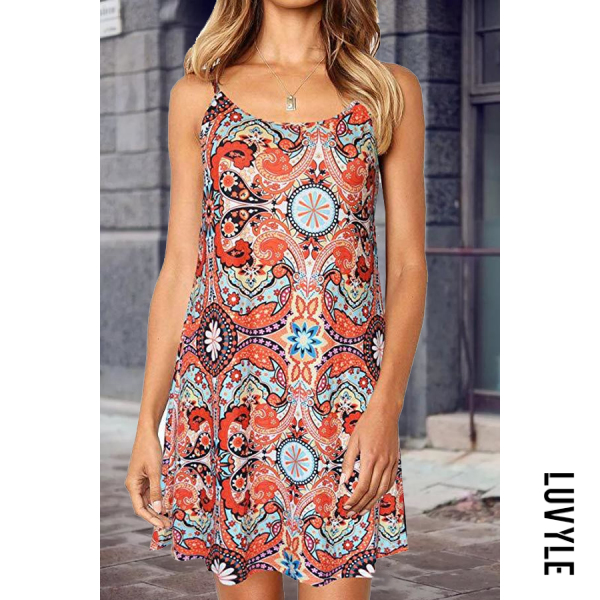 Orange Spaghetti Strap Printed Sleeveless Bodycon Dresses Orange Spaghetti Strap Printed Sleeveless Bodycon Dresses