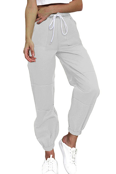 Plain Drawstring Casual Leg Pants