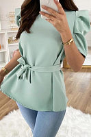 Puff Sleeve Bow Knot Solid Blouse