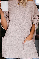 Round Neck Loose-Fitting Pockets Sweater