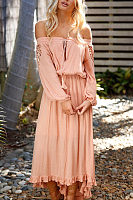 Off Shoulder  Asymmetric Hem  Plain  Long Sleeve Maxi Dresses