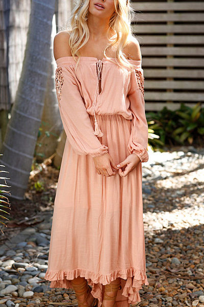 Off Shoulder  Asymmetric Hem  Plain  Long Sleeve Maxi Dresses