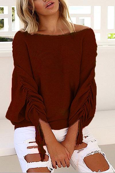 Casual  Plain  Tie Sleeve  Long Sleeve Sweaters