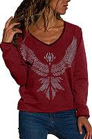 V Neck  Animal Prints  Sweatshirts