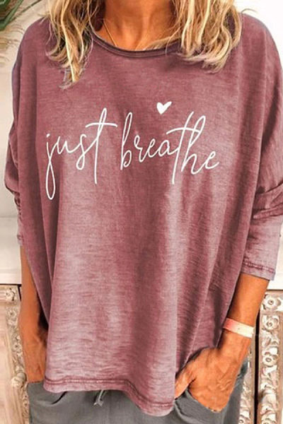 Casual Long-Sleeved Round Collar Letter Printed T-Shirt
