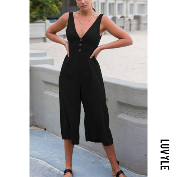 Deep V Neck Backless Single Breasted Plain Sleeveless Jumpsuits