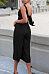 Deep V Neck  Backless Single Breasted  Plain  Sleeveless Jumpsuits