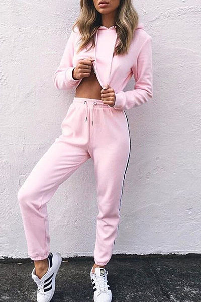 Hooded  Drawstring  Color Block Two-Piece Outfits