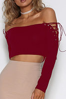 Off Shoulder  Lace Up  Plain T-Shirts