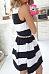 Round Neck  Belt  Color Block  Sleeveless Skater Dresses