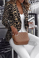 Fashion Turndown Collar Leopard Print Blazer