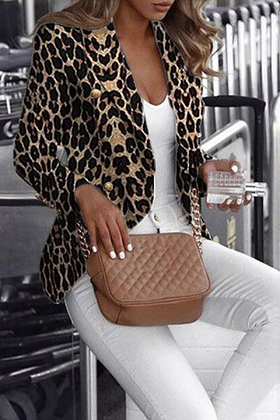 Fashion Turndown Collar Leopard Print Blazer