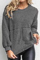 Round  Neck  Plain  Basic  Sweatshirts