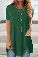 Round Neck Plain Buttons Short Sleeve T-shirt
