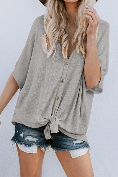 V Neck  Single Breasted  Plain  Batwing Sleeve T-Shirts