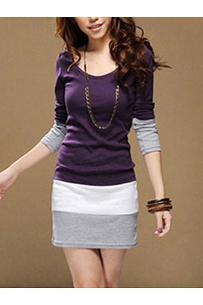 Color Block Striped Mini Bodycon Dress