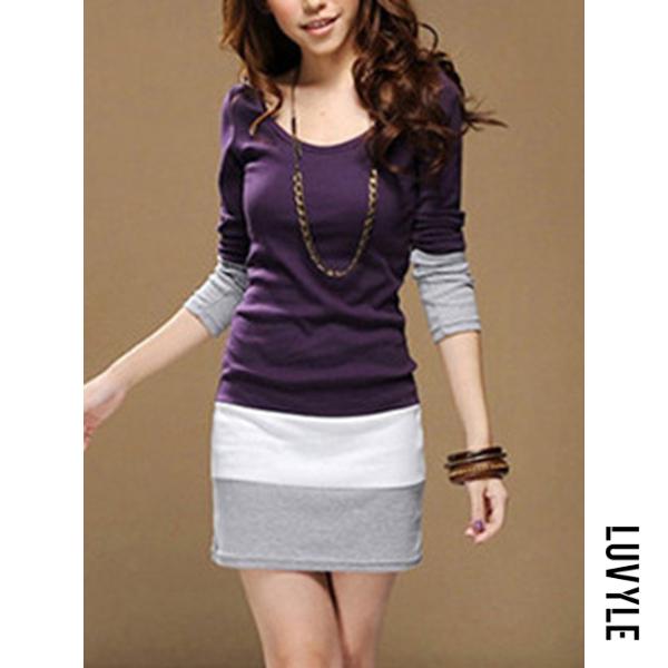 Purple Color Block Striped Mini Bodycon Dress Purple Color Block Striped Mini Bodycon Dress