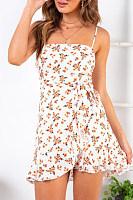 Fashion Casual Sling Printed   Ruffled Dress