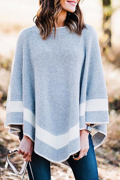 Round Neck Cape Sleeve Colouring Sweater