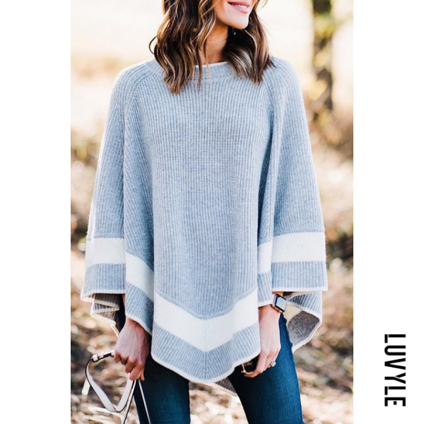 Round Neck Cape Sleeve Colouring Sweater - from $29.00
