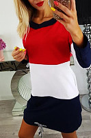 Round Neck  Backless  Color Block  Long Sleeve Casual Dresses