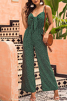 Casual Chest Knotted Sling Printed Wave Point Loose Jumpsuit