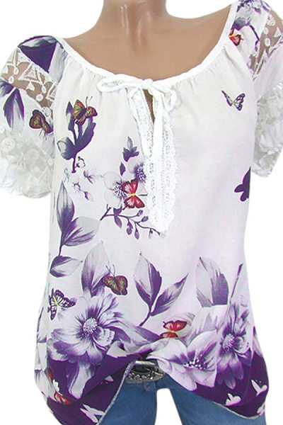 V Neck Printed Lace Short Sleeve Shirt
