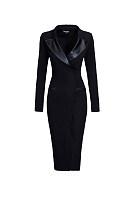 Lapel Patchwork Zips Plain Modern Bodycon Dress