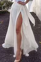 High Slit  Tiered  Plain Skirts