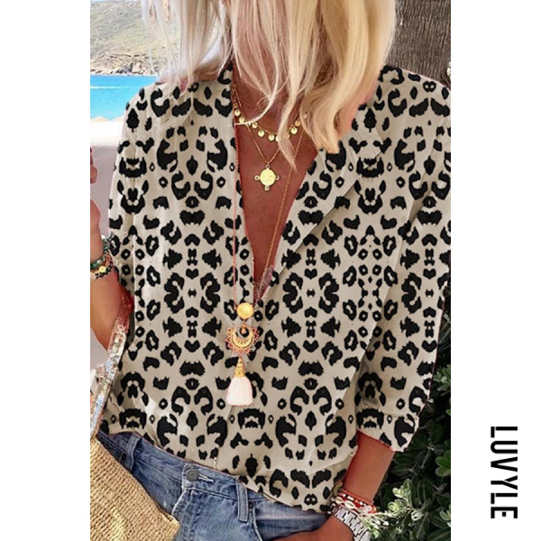 Notch Collar Leopard Long Sleeve Blouse