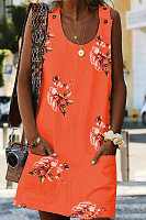 Round Neck Floral Casual Dresses